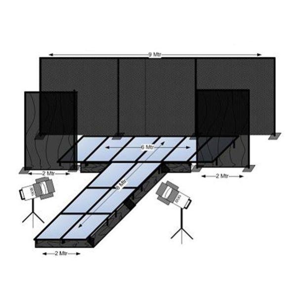 Catwalk 6x2 hoofd en 2x8 uitloop (20/30/40/50/60/80cm) + LED sterrendoek achtergrond (incl op-/afbouw en transport NL) (art 301)