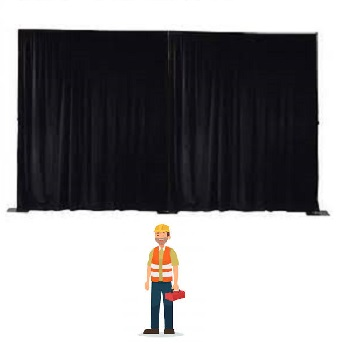 Pipe/ligger systeem + doek zwart incl. plaatsen per m¹ hoogte 4 mtr. en (pipe & drape) (7 min. per mtr.)